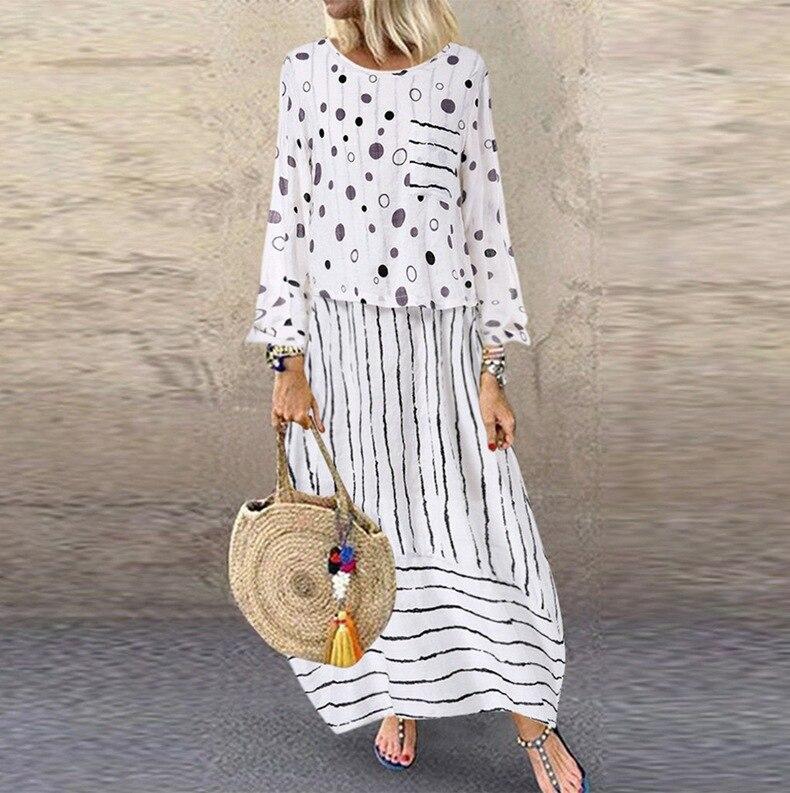 Image 3 - Echoine, женские длинные макси платья, в горошек, большие,  свободные, имитация двух частей, хлопок, лен, платье, осень размера  плюс, сарафан, женская одеждаПлатья