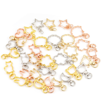 10pcs New Cute Moon Star Heart Cat Animal Flower Hollow Key Chain Ring keychain DIY Accessories Lobster Clasp Wholesale