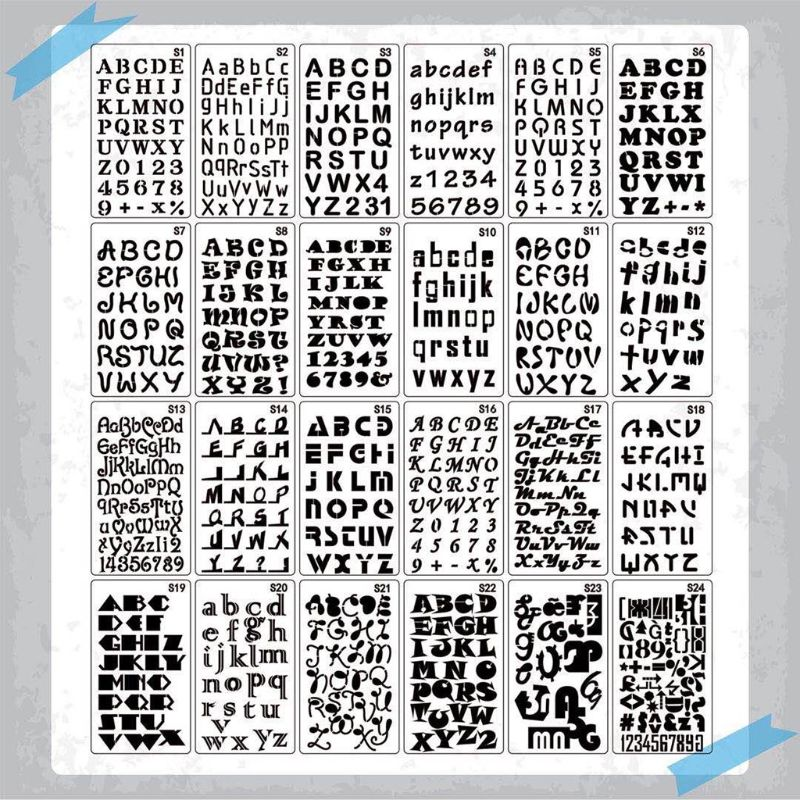 24pcs/set Alphabet Letters Drawing Template Stencil Painting Embossing Scrapbook W91A