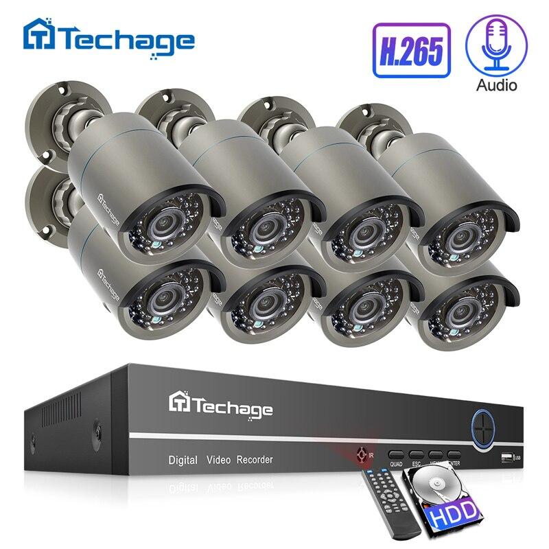 H.265 POE système de sécurité CCTV 8CH 1080P NVR Kit 2MP enregistrement Audio IR caméra IP PoE extérieure P2P ensemble de Surveillance vidéo 2 to HDD