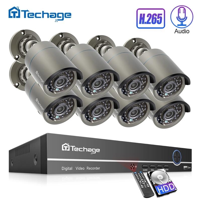 H.265 poe cctv sistema 8ch 1080 p nvr kit até 16ch nvr 2mp gravação de áudio câmera ip ir ao ar livre p2p vídeo vigilância de segurança conjunto