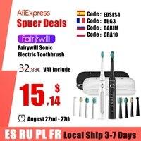 Fairywill-cepillo de dientes eléctrico sónico, FW-507, 5 modos, Cargador USB, temporizador de repuesto, 10 cabezales