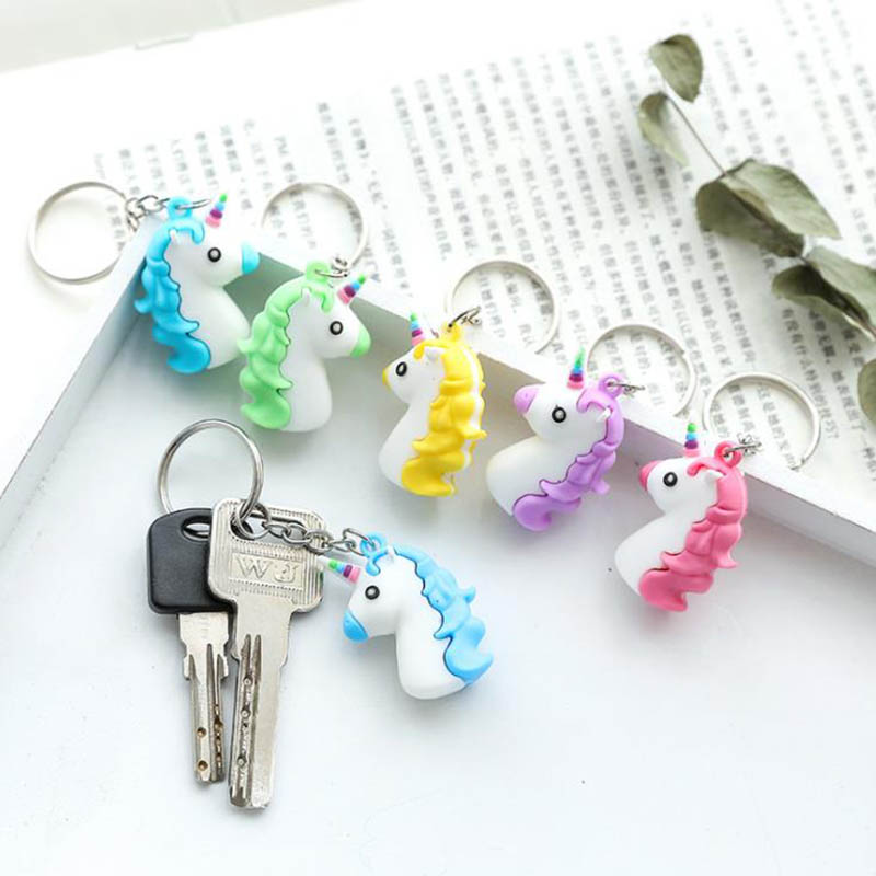 Cute Cartoon 3D Anime Soft Silicone Unicorn Keychain Women Men Kids Bag Charm Key Chain Key Ring Pendant Key Holder
