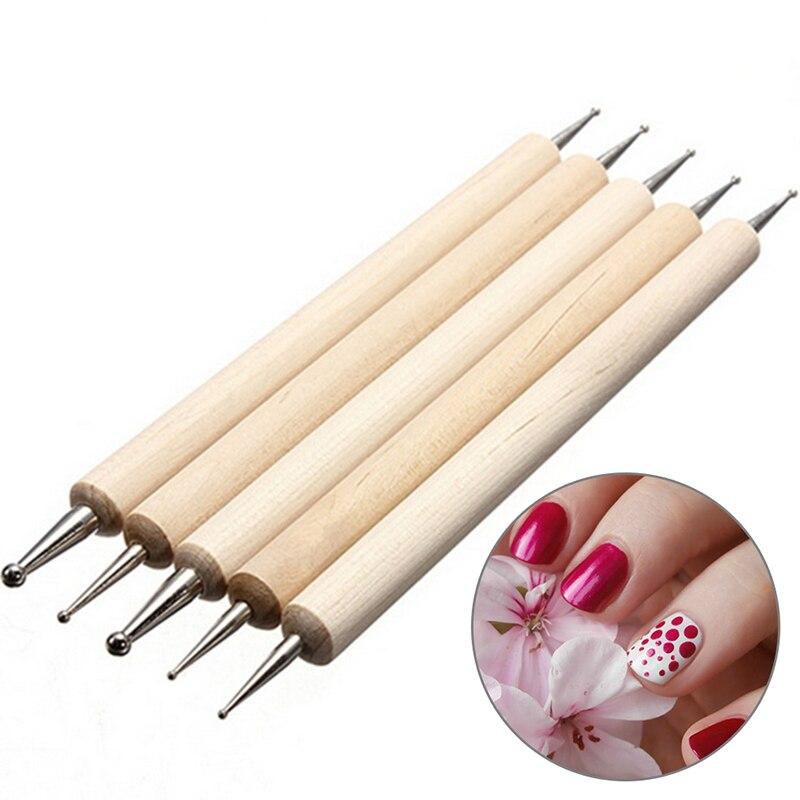 Деревянная точечная ручка 5 шт./компл., Мраморный инструмент для дизайна ногтей, точечный инструмент, набор для маникюра, набор для рисования...
