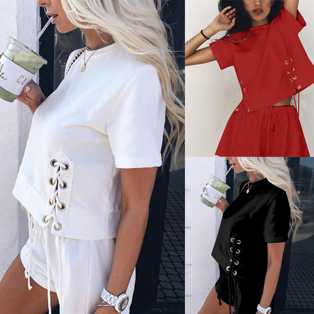 Amazon Europe And America Cross Border WOMEN'S Dress Fashion Bandage Cloth Short-sleeved Top + Sexy Shorts Sports Set FC277
