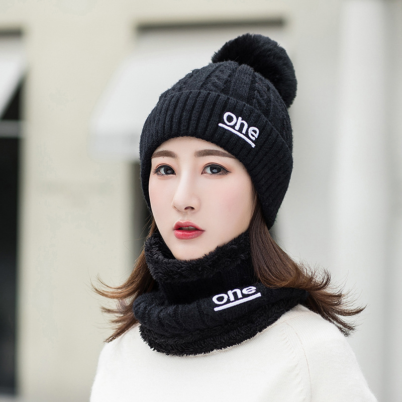 Letter One Winter Hat And Ring Scarf Set Two-Piece Women Thicken Winter Warm Set Female Hats Scarves Unisex Beanie Hat Keep Warm