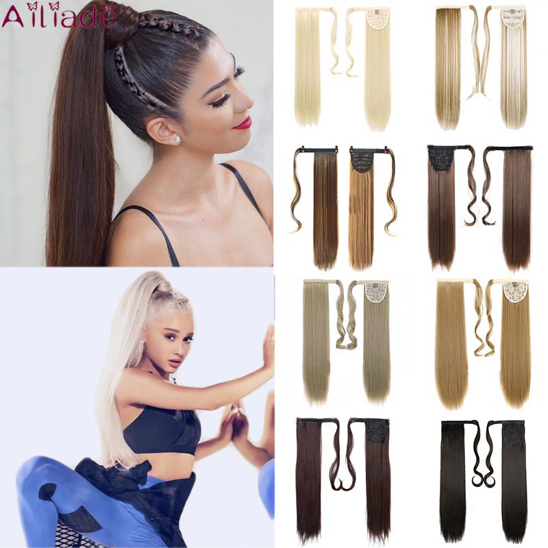Ailiade Long Wavy Hair Clip In Hair Tail False Hair Ponytail Hairpiece With Hairpins Synthetic Hair Pony Tail Hair Extension 24