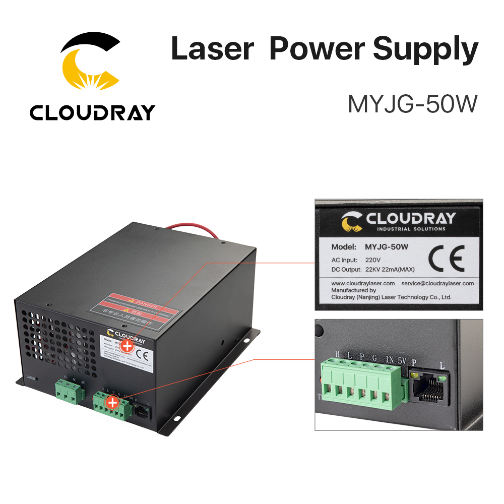 """""""Cloudray 50W CO2 lazerinis maitinimo šaltinis CO2 lazeriu - Medienos apdirbimo mašinų dalys - Nuotrauka 6"""