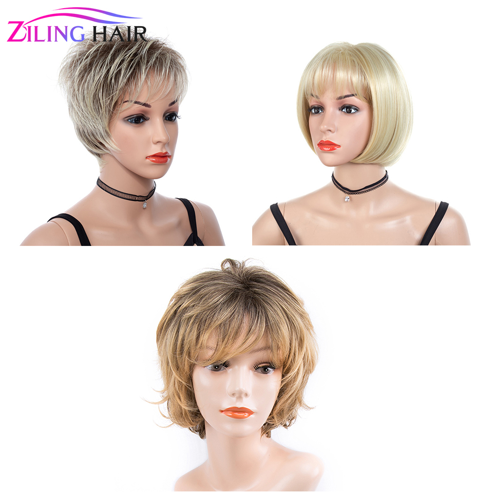 Synthetic Ombre Short Natural Wave Blonde Women's Wigs Lightweight 613 Wig Blond Cosplay For Women Ziling Hair