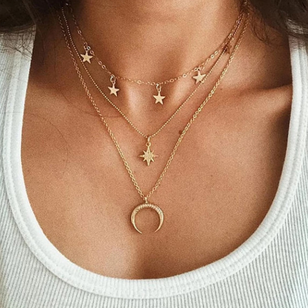 2020 new five-pointed star pendant clavicle chain creative retro simple eight-pointed star crescent three-layer necklace