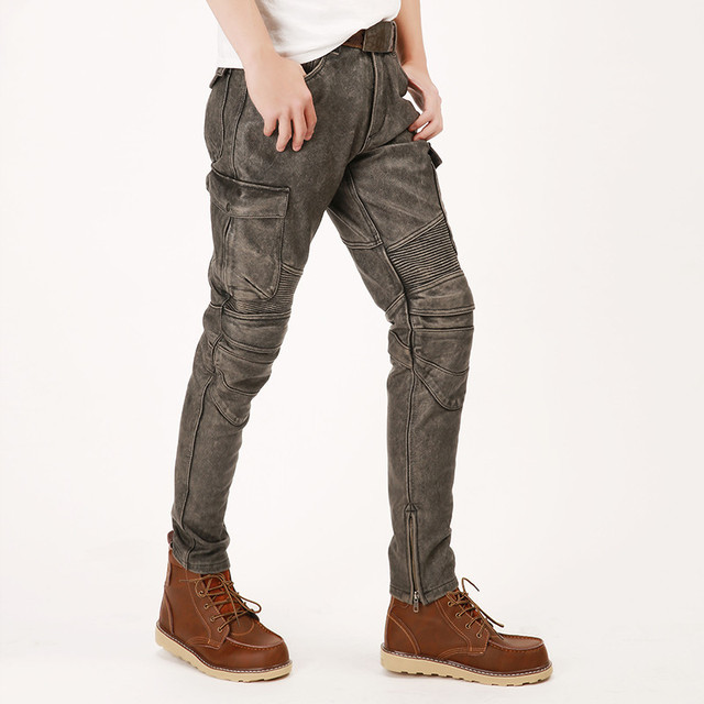 2020 Vintage Grey Men American Casual Style Motorcycle Leather Trousers Plus Size 4XL Genuine Thick Cowhide Pants FREE SHIPPING 4