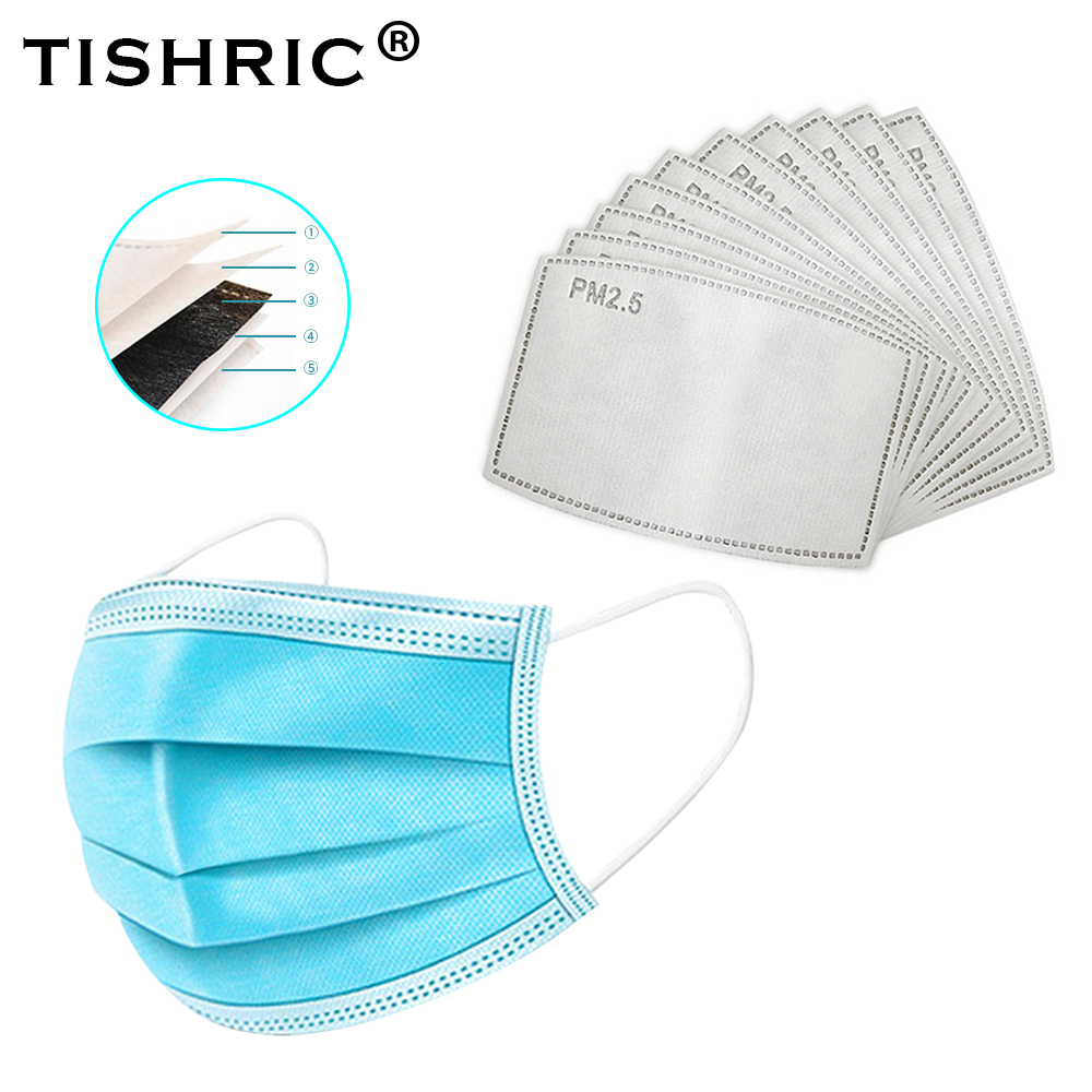 100PCS PM2.5 Carbon Respirator FFB2 Face Mask Filter Germ Virus Protection Mask Filter Replacements For N95/FFP3 Disposable Mask