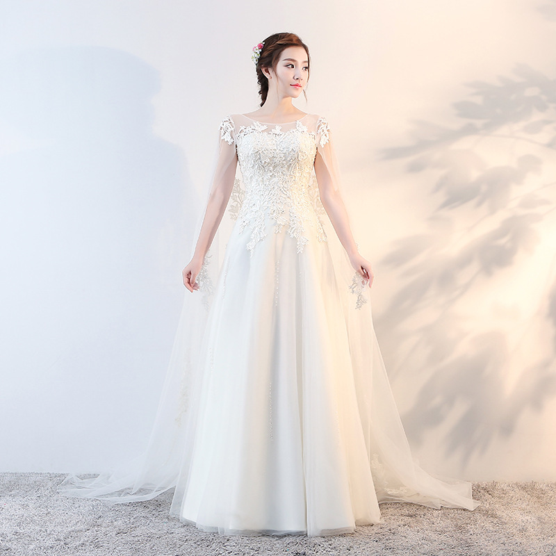 The New 2020 Show Thin Bride Wedding Dresses Korean Trailing Retro Pregnant Woman Contracted Round Collar Of Big Yards