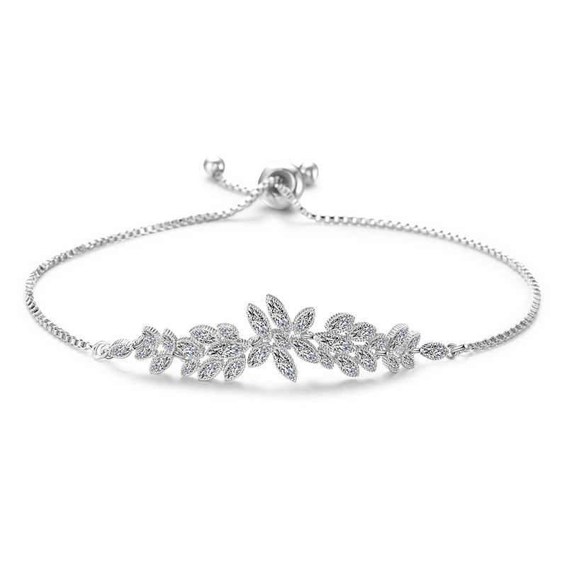 Trendy Zirconia Crystal Silver color plant Leaf Adjustable Bracelet High Quality Jewelry For Women Wedding Party Gifts S-l0063