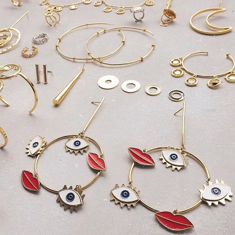 Grand mal yeux lèvres breloque boucle en or boucles d'oreilles pour les femmes déclaration bijoux