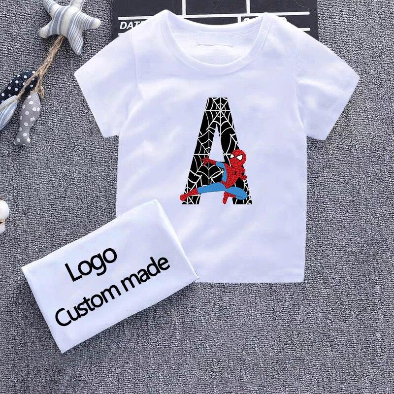 2019 Boys T-shirts Girls Shirt Cartoon Spider-man Costume Kids Toddler Clothing Boy T Shirt Spiderman 26 Letters Children's Wear