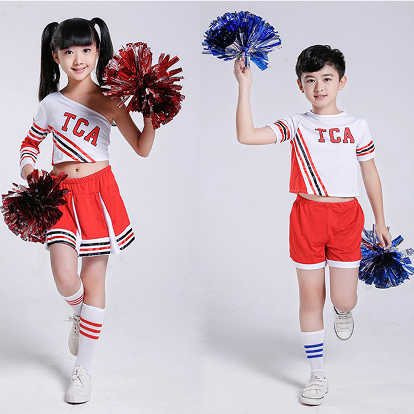 100-170cm Kids Girls Shoulder Off Clothing Set Game Football Competition Cheerleader Dance Costumes Children School Uniform