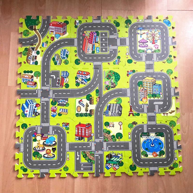 9 Pc/lot Babe Car Road Traffic Play Mat EVA Foam Play Puzzle Mat For Kids Crawling Mat Splice Foam Floor Mat Children