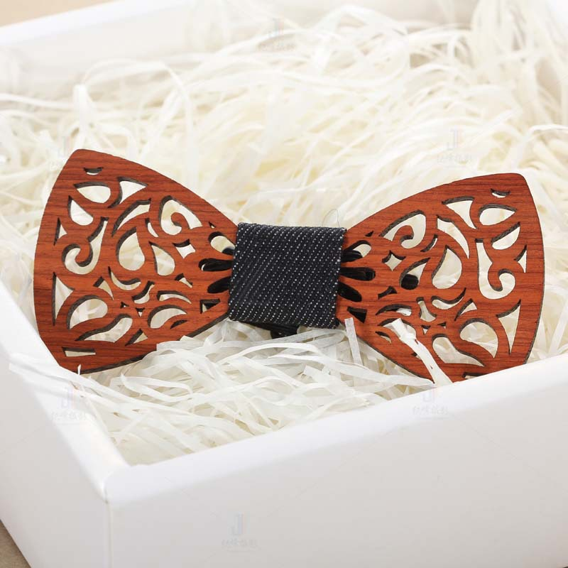 Wooden Bow Ties For Men Ties Wood Bowtie Handmade Butterfly Wood Bow Tie Hollow Out Carved Retro Wooden Neck Adjustable Strap