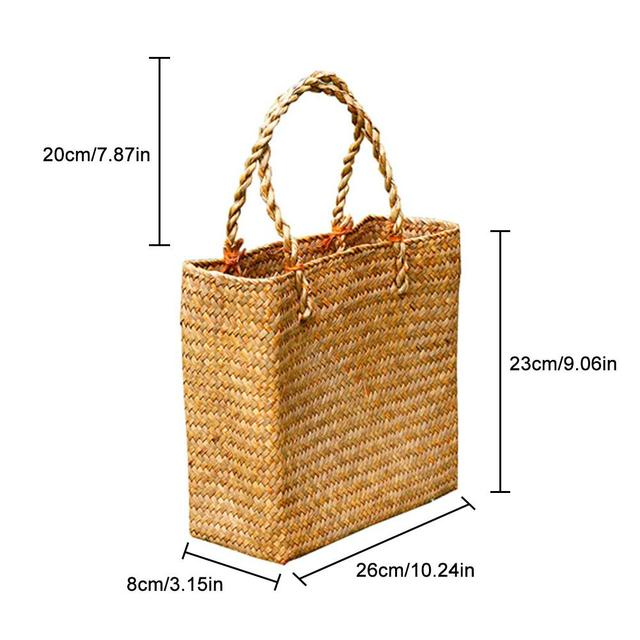 Handmade Woven Tote Straw Bag Large Shopping Hand Bags for Summer Beach Travel 5