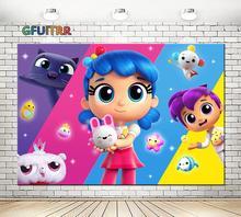 GFUITRR אמיתי וקשת ממלכת צילום רקע ילדה מסיבת יום הולדת תמונה רקע צבעוני בובות ויניל תא צילום נכס