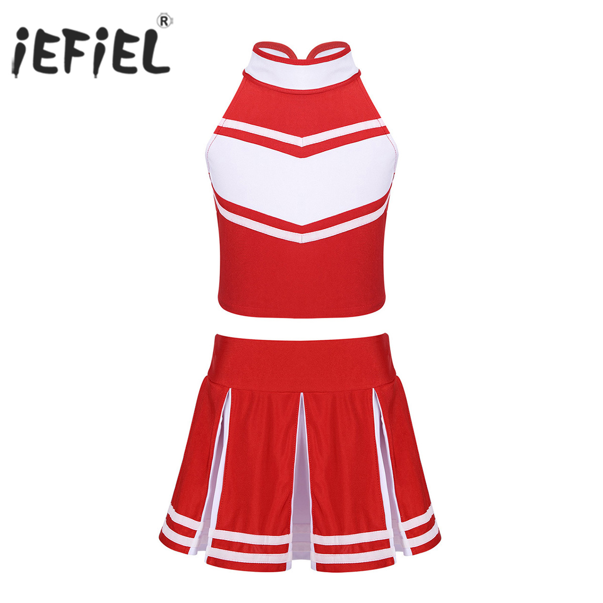 Tops Skirt Ballroom-Dance-Wear Cheerleader-Costume School-Uniform Stage-Performance Girls