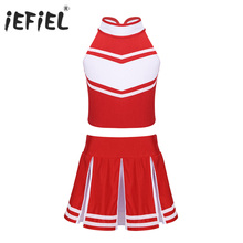 2019 Kids Girls Cheerleader Costume Zippered Tops with Skirt School Uniform Stage Performance Cosplay Party Ballroom Dance Wear