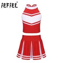 2019 dzieci dziewczyny cheerleaderka kostium zapinana na zamek blaty z spódnica mundurek szkolny scen Cosplay Party Ballroom taniec nosić