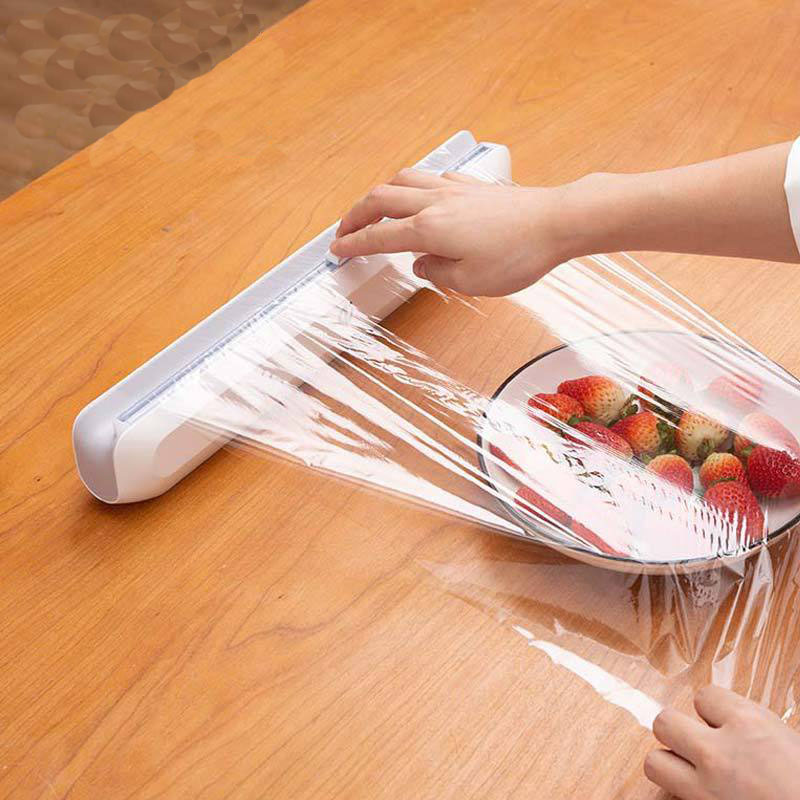 Food Wrap Dispenser Cutter Kitchen Tool Foil Cling Film Wrap Dispenser Plastic Sharp Cutter Storage Holder