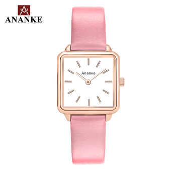 Ananke Women Watches Leather Buckle Belt Lady Waterproof and Shock Resistant Square Simple Dial Quartz Wristwatch AN25