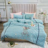 New Crystal velvet bedding sets cartoon bed set King queen size bed cover set bed sheet set pillowcase 4pcs
