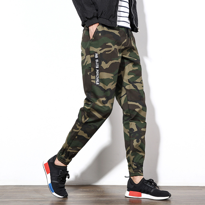 2016 Autumn Camouflage Pants Men's Casual Pants Trousers Korean-style Pants Wide Elastic Leg Harem Pants Fashion Straight-Cut An