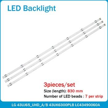 Tira de LED para iluminación trasera (3) Para LG 43UJ635V 43UJ675V 43UK6300PLB...