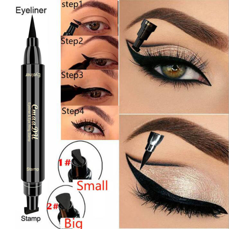 Hot 1PC 2-in-1 Waterproof Seal Black Double Head Waterproof Stamp Eyeliner Pen Tattoo Stamping Eye Liner Pencil Makeup ToolTSLM2