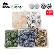 Silicone Beads 10Pcs Leopard Print 12/15/19mm Baby Teether Teething Beads Tie-dye DIY Jewelry BPA Free Pacifier Clip Making