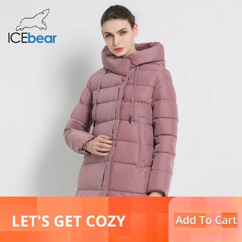 Kadın Giyim'ten Parkalar'de ICEbear 2019 yeni kış kadın kapüşonlu ceket şık kadın pamuklu ceket kış sıcak mont marka kadın giyim GWD18216I'da  Grup 1