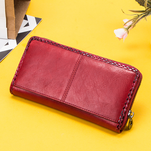 Zipper Genuine Leather Clutch  2