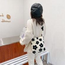 Casual outono flor impresso ombro underarm bolsa feminina de pelúcia macio fofo bolsa de viagem rua topo-alça embreagem bolsa