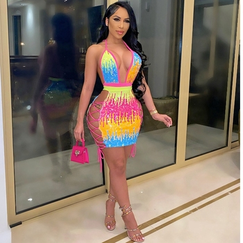 hirigin Sexy Sequin Birthday Dress Women Party Night Glitter Bodycon Mini Dress Summer Side Hollow Out Backless Night Club Dress 1