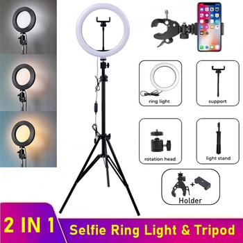 Dimmable LED Selfie Ring Fill Light Phone Camera Led Ring Lamp With Tripod For Makeup Video Live YouTube Aro De Luz Para Celular