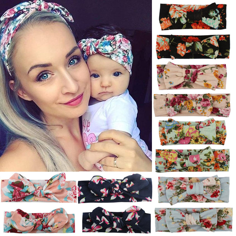 2pcs Mama & Baby Headwear Set Bowknot Elastic Printing HeadBand For Women Children Tuban Parent-Child HairBands Hair Accessories