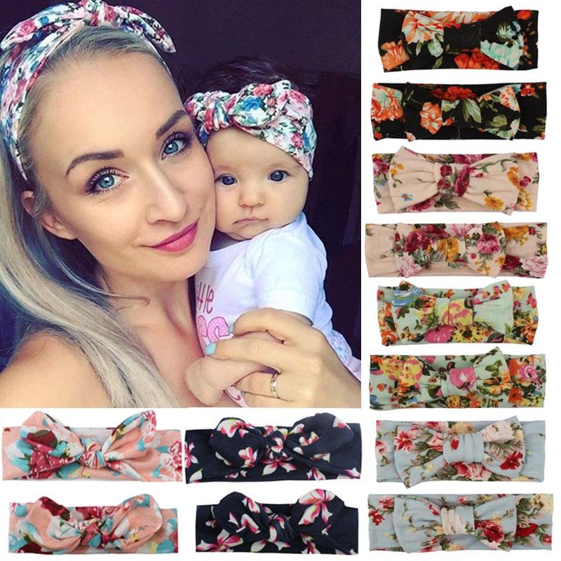 2pcs Mama & Baby Headwear Set Bowknot Elastic Printing HeadBand For Women Children Tuban Parent-Child HairBands Hair Accessories