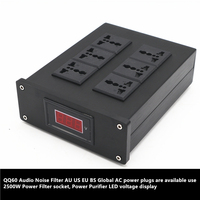 QQ60 Audio Noise Filter AU EU BS Global AC power plugs use 2500W Power Filter socket, Power Purifier LED voltage display