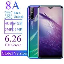 Смартфон 8A, 6,26 дюйма, 4 + 64 ГБ, две Sim-карты, 13 МП, WCDMA/GSM