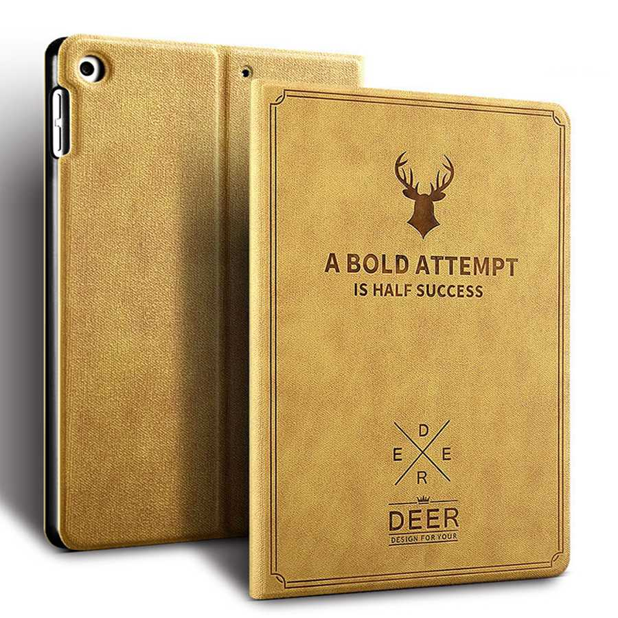 camel Black Deer Pattern PU Leather Case For Apple iPad 10 2 2019 Smart Stand Cover For iPad