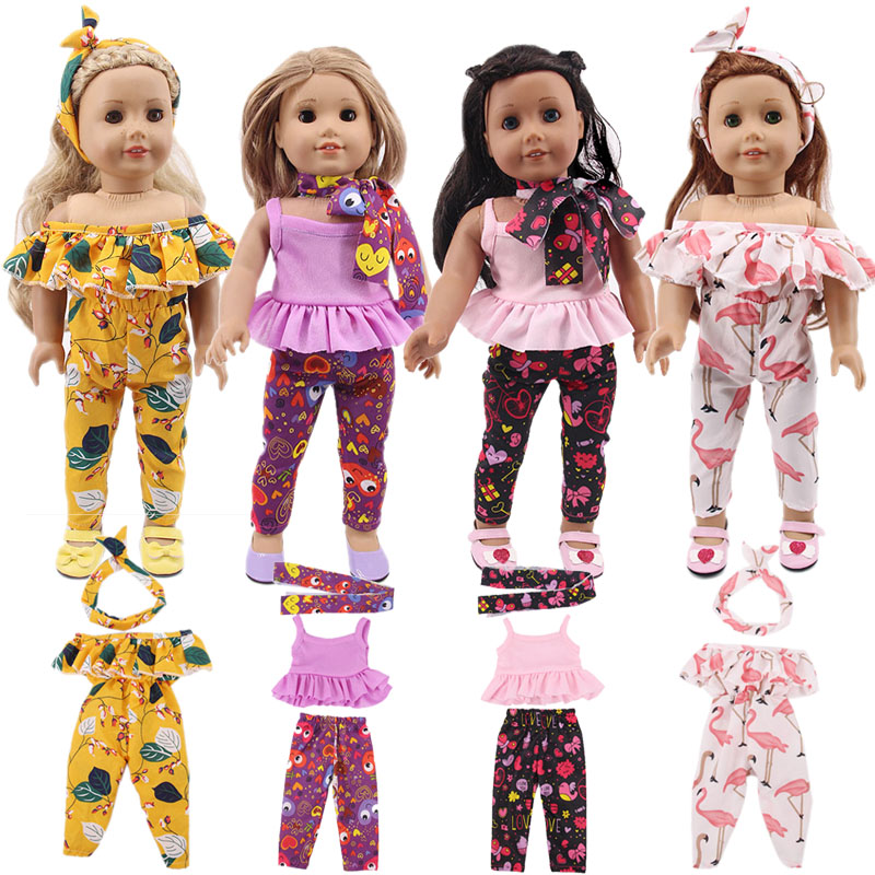 Doll 2Pcs=Shoulder Clothes+Headband,Cute Cat Shoes For 18 Inch American&43 Cm Born Baby Our Generation,Birthday Girl's Toy Gift