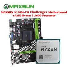 MAXSUN motherboard am4 A320M VH Challenger +AMD ryzen 5 2600 processor ram ddr4 memory SATAIII ssd PCI E graphics card mainboard