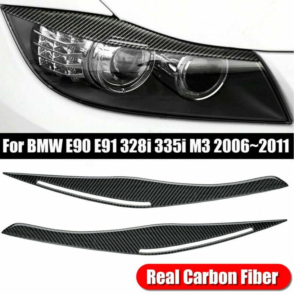 For BMW E90 E91 328i 335i 2006-2011 Carbon Fiber Headlight Eyelid Eyebrow Cover