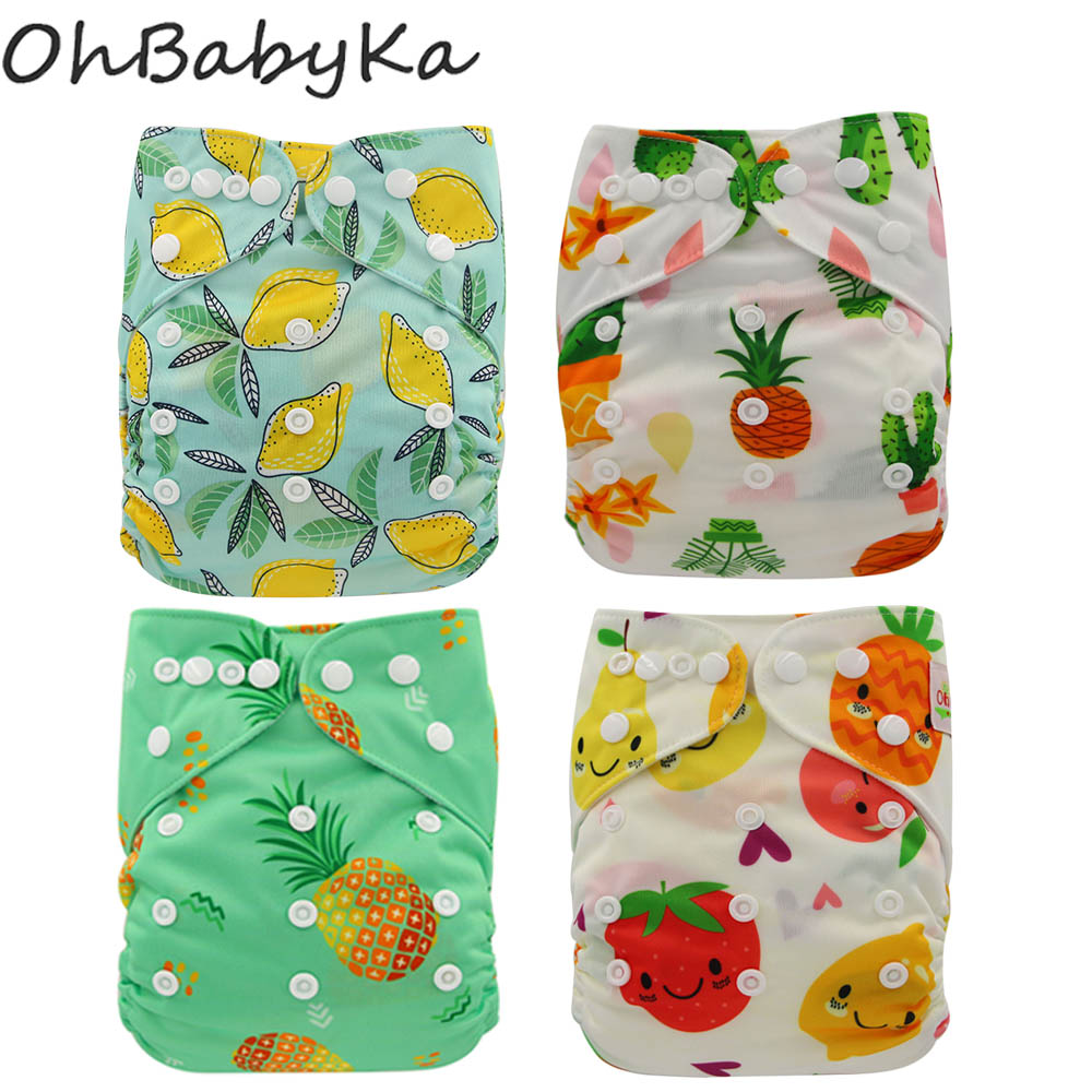 Ohbabyka Newborn Cloth Diaper Christmas Cartoon Print Baby Cloth Diaper One Size Adjustable Baby Care Pocket Diaper Reusable