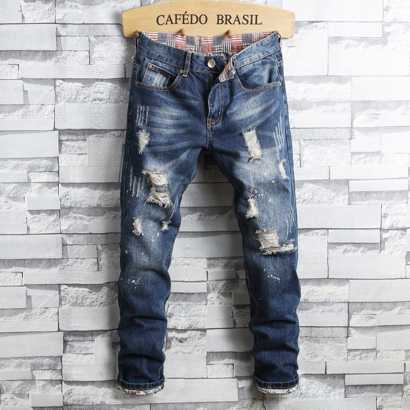 Europe And America Men's Jeans Slim Fit Pencil Pants With Holes Beggar Large Size Trend Men's Trousers
